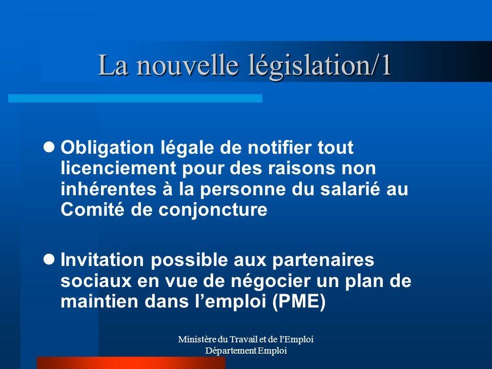 Ministère du Travail et de l'Emploi Département Emploi La nouvelle législation/1 Obligation légale de notifier tout licenciement pour des raisons non