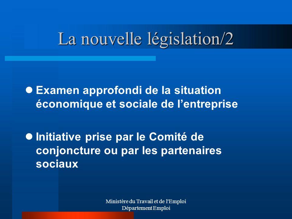 Ministère du Travail et de l'Emploi Département Emploi La nouvelle législation/2 Examen approfondi de la situation économique et sociale de lentrepris