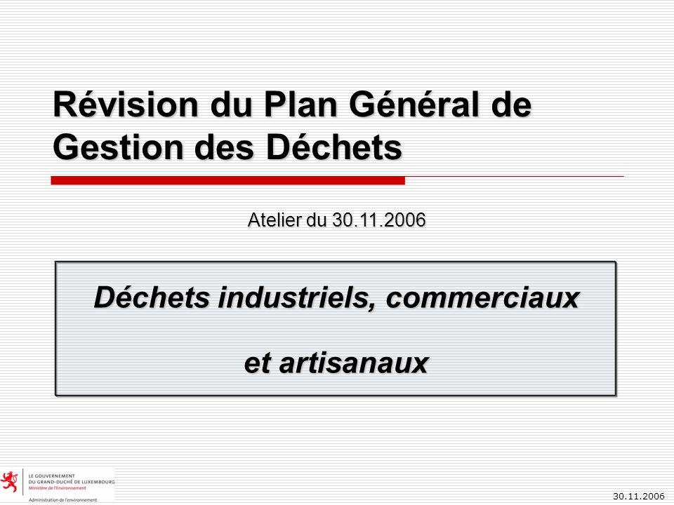 30.11.2006 Révision du Plan Général de Gestion des Déchets Déchets industriels, commerciaux et artisanaux Atelier du 30.11.2006