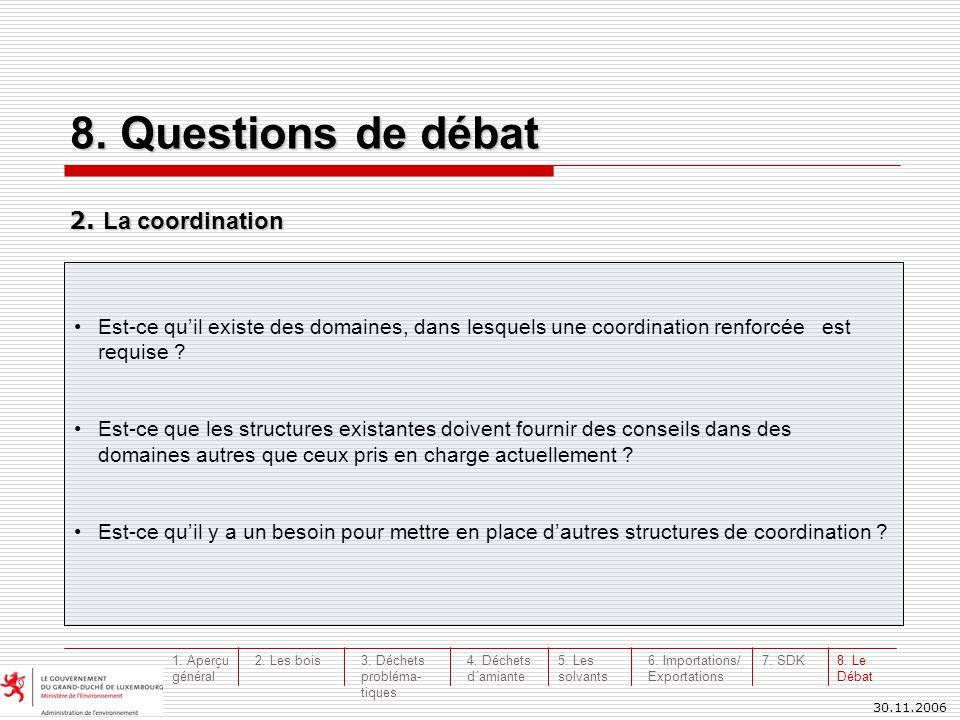 30.11.2006 8. Questions de débat 2. La coordination Est-ce quil existe des domaines, dans lesquels une coordination renforcée est requise ? Est-ce que