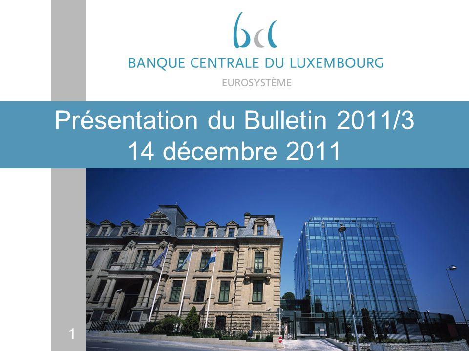 22 Luxembourg: les prix de limmobilier résidentiel Taux de croissance du prix de limmobilier résidentiel et de ses déterminants fondamentaux sur la période 1995-2010 (en %) Sur lensemble En rythme de la période annuel Prix des logements 189,9 7,0 PIB réel 76,2 3,8 Prix à la consommation 35,8 2,1 dont : loyers dhabitation 45,3 2,5 Coûts de construction 41,3 2,3 Permis de bâtir 46,4 3,4 Population 24,3 1,5 Emploi 66,0 3,4Sur la période 1986-1995 1996-2010 Taux dintérêt réel moyen de court terme (en % annuel) 5,5 0,9 Sources: STATEC, calculs BCL