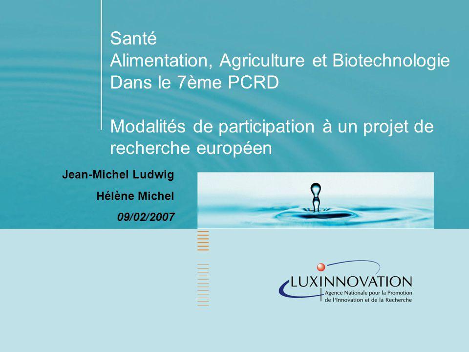 Santé Alimentation, Agriculture et Biotechnologie Dans le 7ème PCRD Modalités de participation à un projet de recherche européen Jean-Michel Ludwig Hélène Michel 09/02/2007