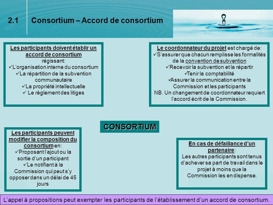 8 Contenu dune convention de subvention Droits et obligations des participants Forme de financement attribué à chaque poste de dépenses Types de modification du consortium nécessitant un appel à concurrence Principes de la Charte européenne du chercheur et du Code de conduite pour le recrutement de chercheurs Éléments spécifiques à certaines actions Signatures du coordonnateur et de la Commission Suivi des actions 2.2 Convention de Subvention Évaluation périodique sur la base de rapports dactivités réguliers Évaluation de la valorisation et de la diffusion des connaissances nouvelles La Commission élabore une convention de subvention entre la Communauté et les participants en tenant compte des caractéristiques du régime de financement concerné.