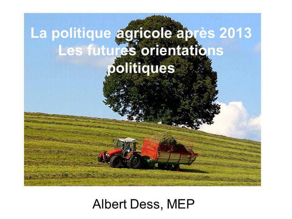 Albert Dess, MEP La politique agricole après 2013 Les futures orientations politiques