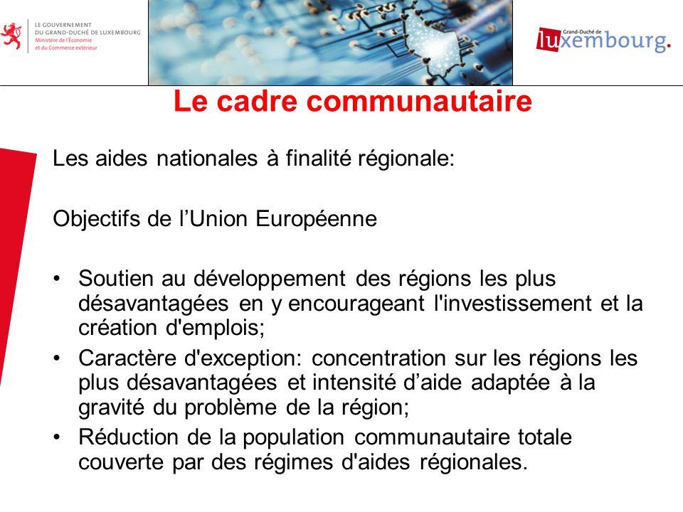 Les principales innovations: Le choix des régions éligibles Régions éligibles 2007-2008 Nom de la régionCommunesPopulationChômage Région Sud-Ouest:20.339145% Bascharage6.590 Pétange13.749