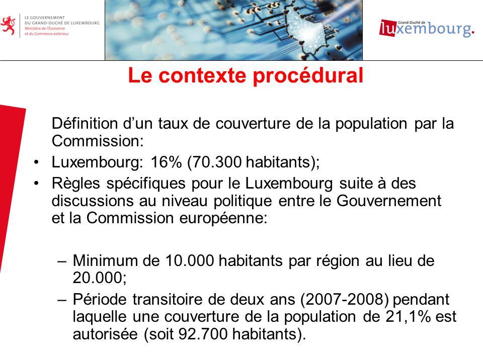 Le contexte procédural Le 12 octobre 2006 Approbation de la carte luxembourgeoise des aides à finalité régionale pour la période 2007-2013 par la Commission; Le 24 octobre 2006 Règlement dexemption par catégorie (CE) No 1628/2006 de la Commission permettant dexempter de la notification les régimes daides à finalité régionale; Élaboration du présent projet de loi sur la base du règlement (CE) No 1628/2006, permettant déviter une notification et donc des délais significatifs liés à lapprobation par la Commission européenne du régime daides.