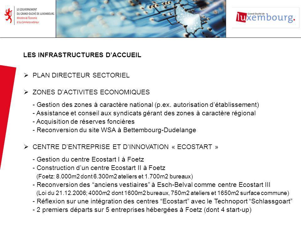 LES INFRASTRUCTURES DACCUEIL PLAN DIRECTEUR SECTORIEL ZONES DACTIVITES ECONOMIQUES - Gestion des zones à caractère national (p.ex.