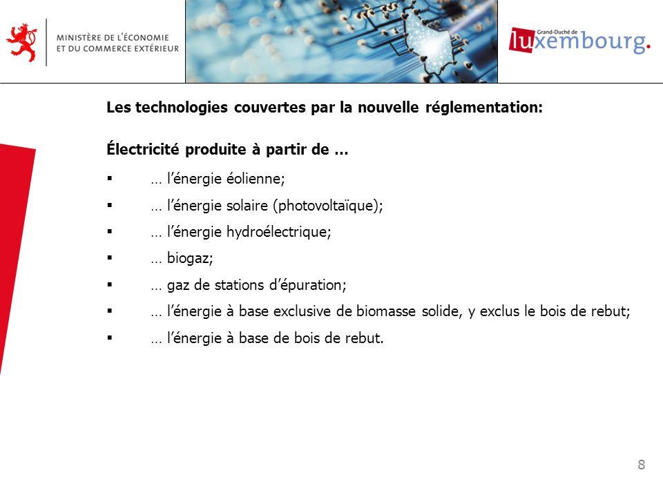 8 Les technologies couvertes par la nouvelle réglementation: Électricité produite à partir de … … lénergie éolienne; … lénergie solaire (photovoltaïqu