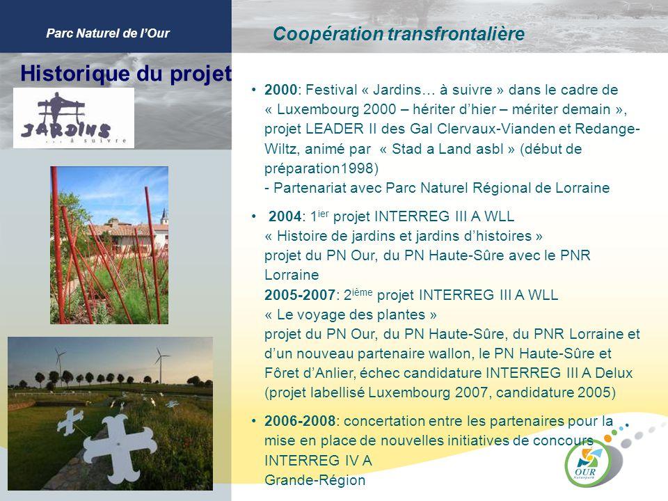 Parc Naturel de lOur Coopération transfrontalière Historique du projet 2000: Festival « Jardins… à suivre » dans le cadre de « Luxembourg 2000 – hérit