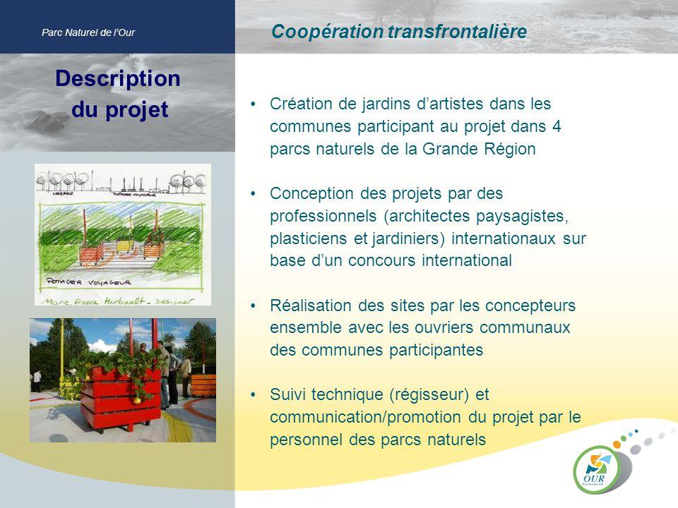 Description du projet Parc Naturel de lOur Coopération transfrontalière Création de jardins dartistes dans les communes participant au projet dans 4 p