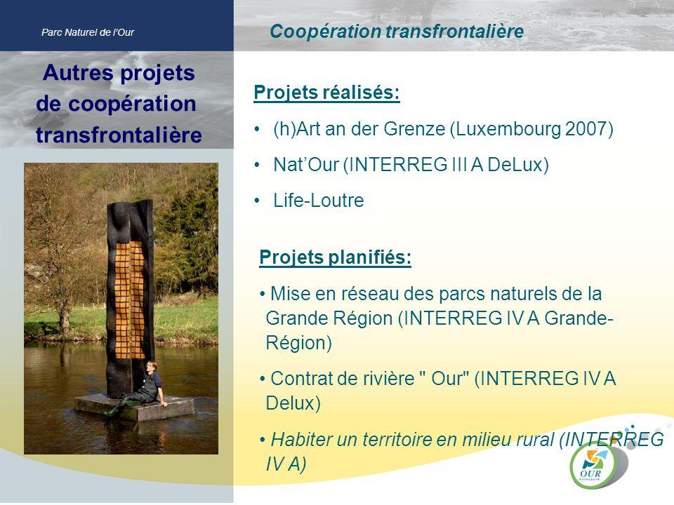 Autres projets de coopération transfrontalière Parc Naturel de lOur Coopération transfrontalière Projets réalisés: (h)Art an der Grenze (Luxembourg 20