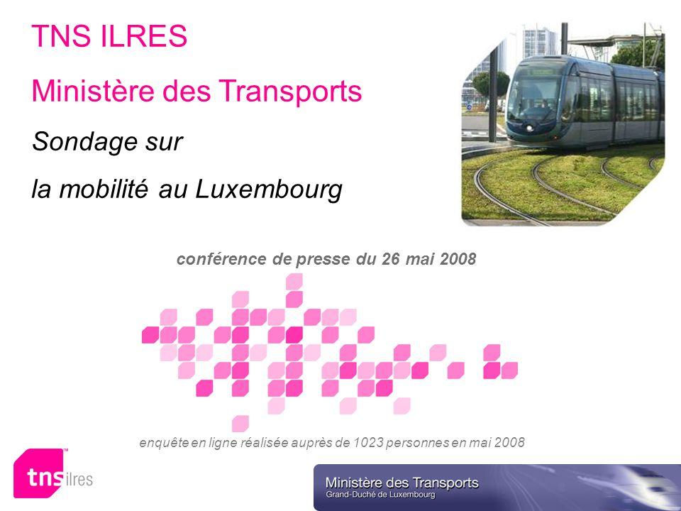 TNS ILRES Ministère des Transports Sondage sur la mobilité au Luxembourg conférence de presse du 26 mai 2008 enquête en ligne réalisée auprès de 1023 personnes en mai 2008 Ministère des Transports