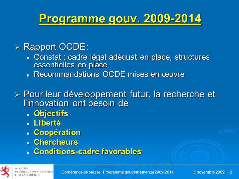 Conférence de presse: Programme gouvernemental 2009-2014 3 novembre 2009 2 Programme gouv.