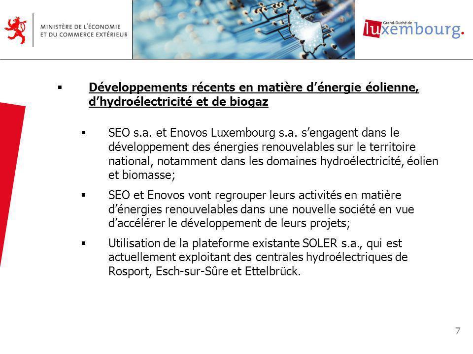 7 Développements récents en matière dénergie éolienne, dhydroélectricité et de biogaz SEO s.a.