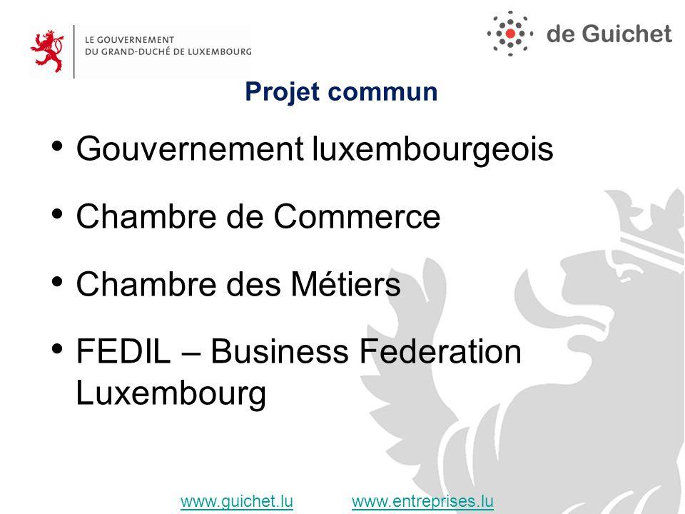 Gouvernement luxembourgeois Chambre de Commerce Chambre des Métiers FEDIL – Business Federation Luxembourg Projet commun www.guichet.luwww.guichet.lu www.entreprises.luwww.entreprises.lu