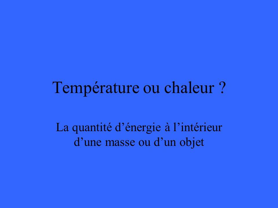 Température ou chaleur La quantité dénergie à lintérieur dune masse ou dun objet