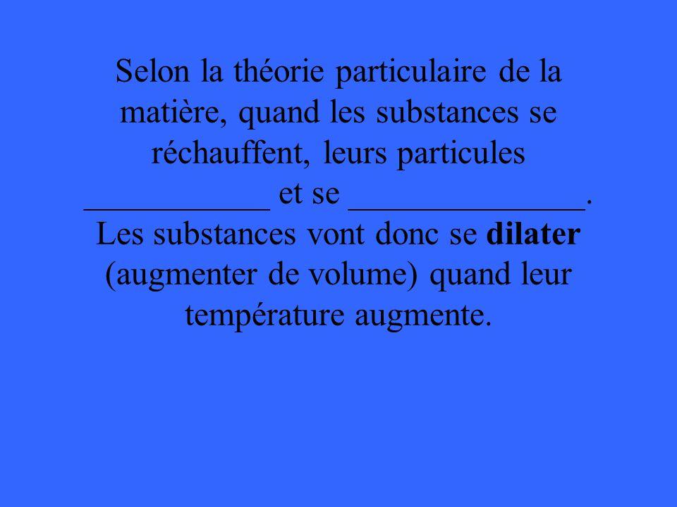 Selon la théorie particulaire de la matière, quand les substances se réchauffent, leurs particules ___________ et se ______________. Les substances vo