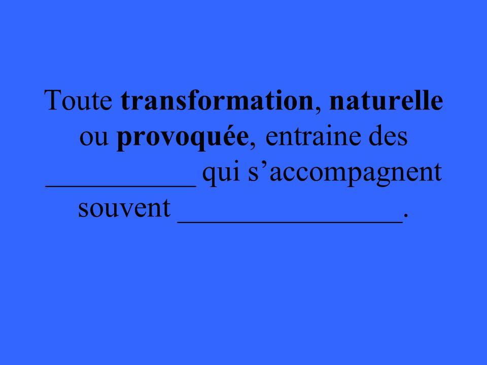 Toute transformation, naturelle ou provoquée, entraine des __________ qui saccompagnent souvent _______________.