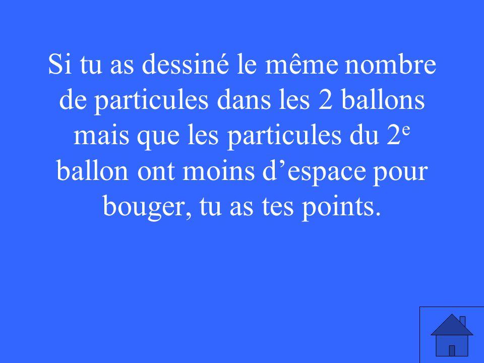 Si tu as dessiné le même nombre de particules dans les 2 ballons mais que les particules du 2 e ballon ont moins despace pour bouger, tu as tes points