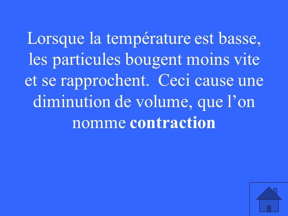 Lorsque la température est basse, les particules bougent moins vite et se rapprochent. Ceci cause une diminution de volume, que lon nomme contraction