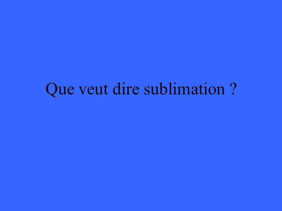 Que veut dire sublimation