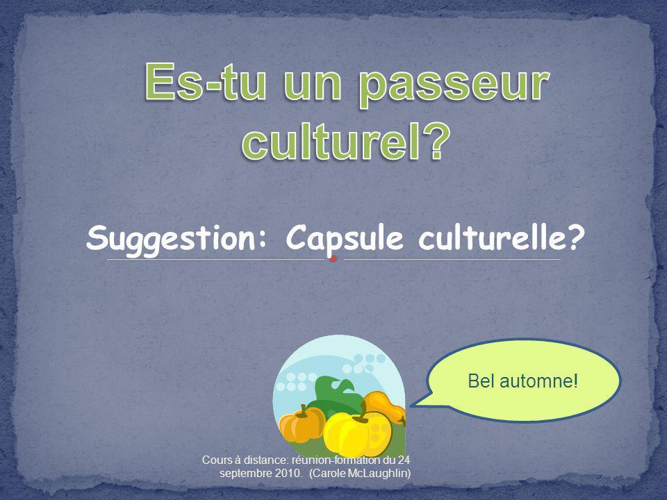 Suggestion: Capsule culturelle.Bel automne.