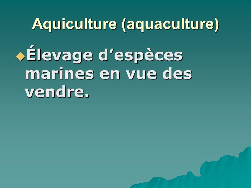 Aquiculture (aquaculture) Élevage despèces marines en vue des vendre.