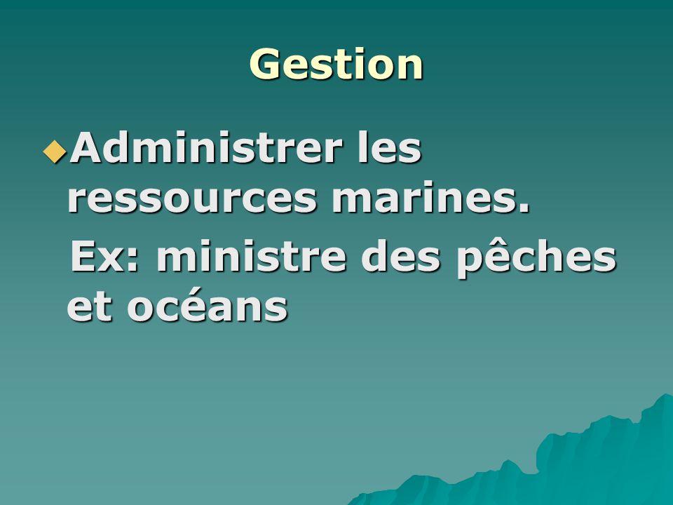 Gestion Administrer les ressources marines. Administrer les ressources marines.