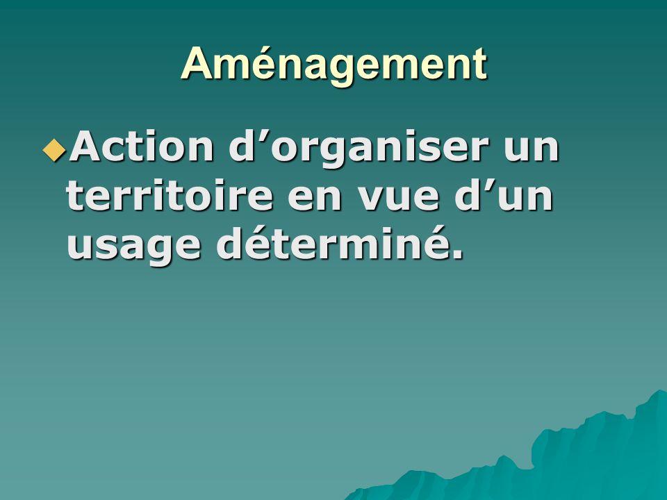 Aménagement Action dorganiser un territoire en vue dun usage déterminé.