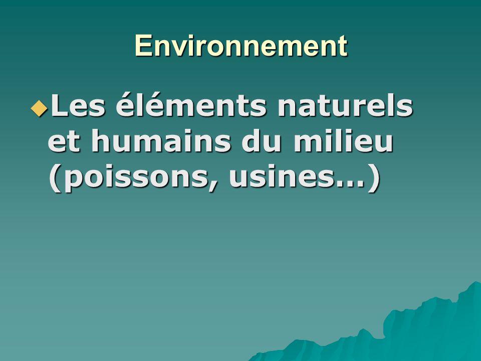 Environnement Les éléments naturels et humains du milieu (poissons, usines…) Les éléments naturels et humains du milieu (poissons, usines…)