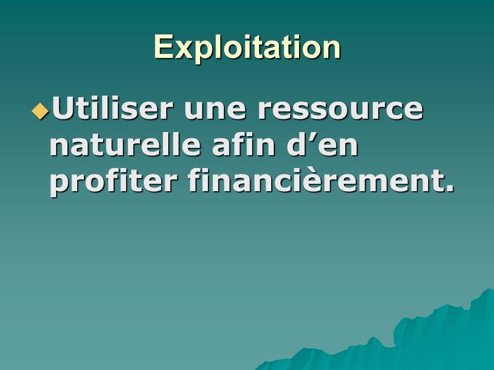Exploitation Utiliser une ressource naturelle afin den profiter financièrement.