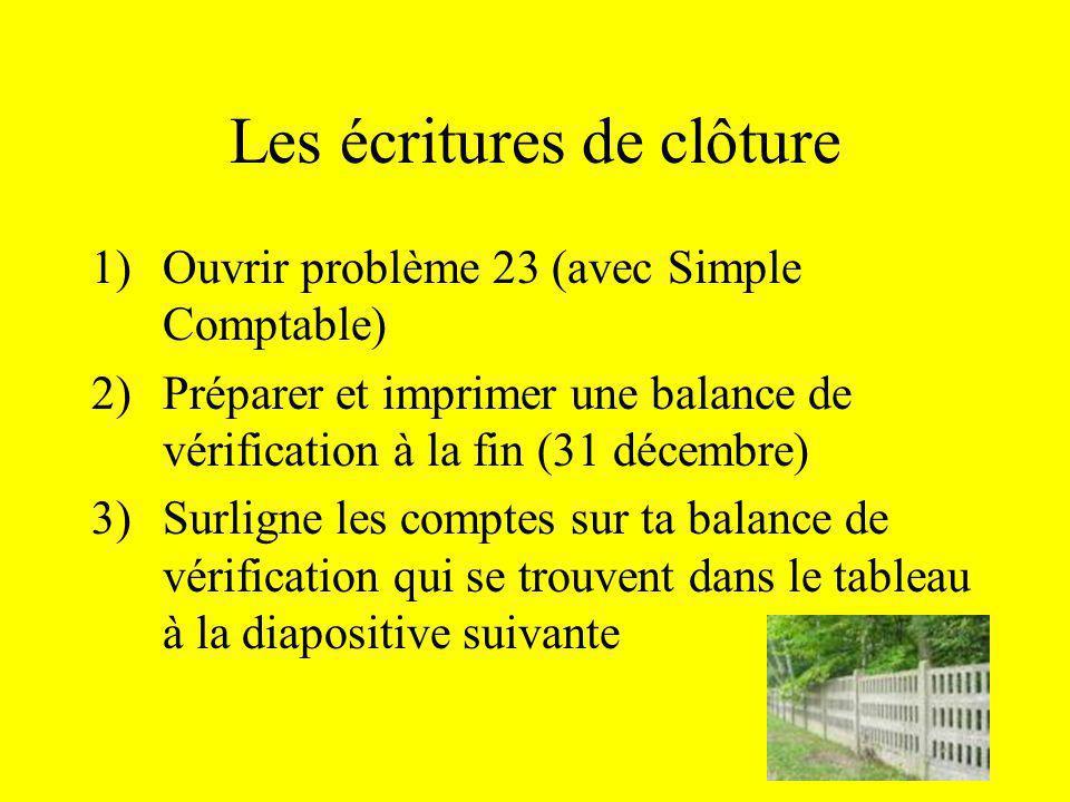 Les écritures de clôture 1)Ouvrir problème 23 (avec Simple Comptable) 2)Préparer et imprimer une balance de vérification à la fin (31 décembre) 3)Surl