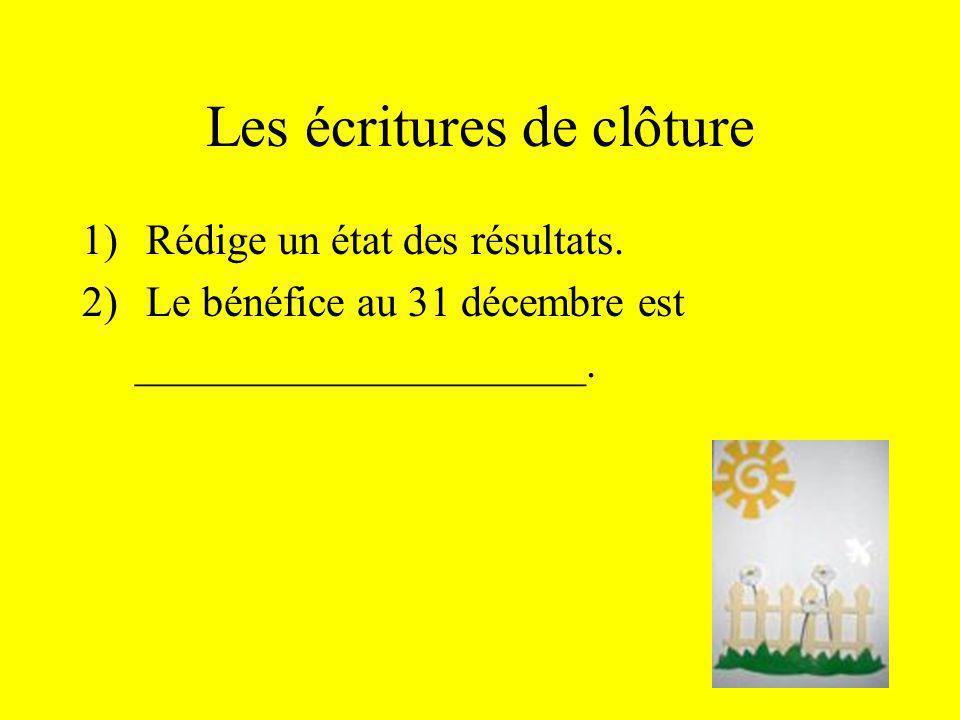 Les écritures de clôture 1)Rédige un état des résultats. 2)Le bénéfice au 31 décembre est _____________________.