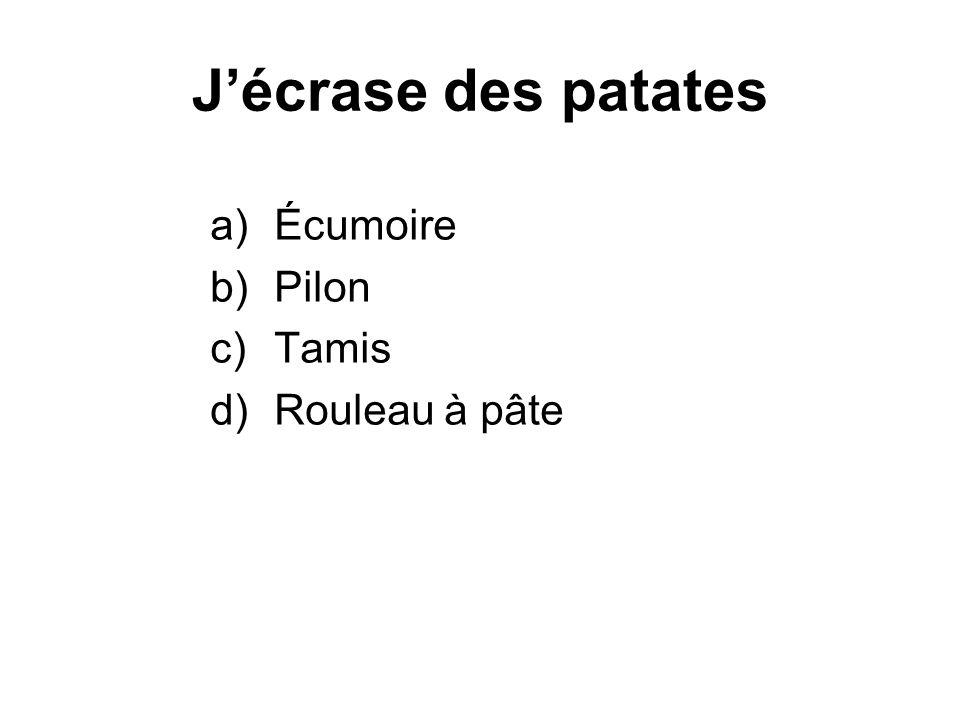 Jégoutte des fruits, des légumes ou des pâtes cuites a)Tamis b)Bain-Marie c)Passoire d)Entenoire