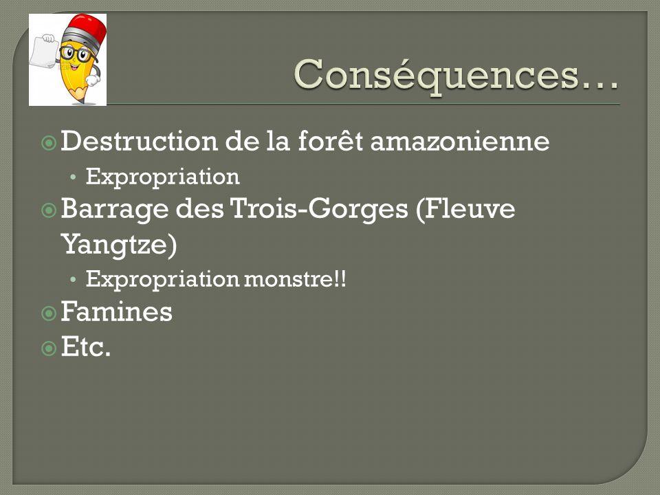 Destruction de la forêt amazonienne Expropriation Barrage des Trois-Gorges (Fleuve Yangtze) Expropriation monstre!! Famines Etc.
