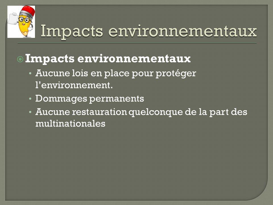 Impacts environnementaux Aucune lois en place pour protéger lenvironnement. Dommages permanents Aucune restauration quelconque de la part des multinat