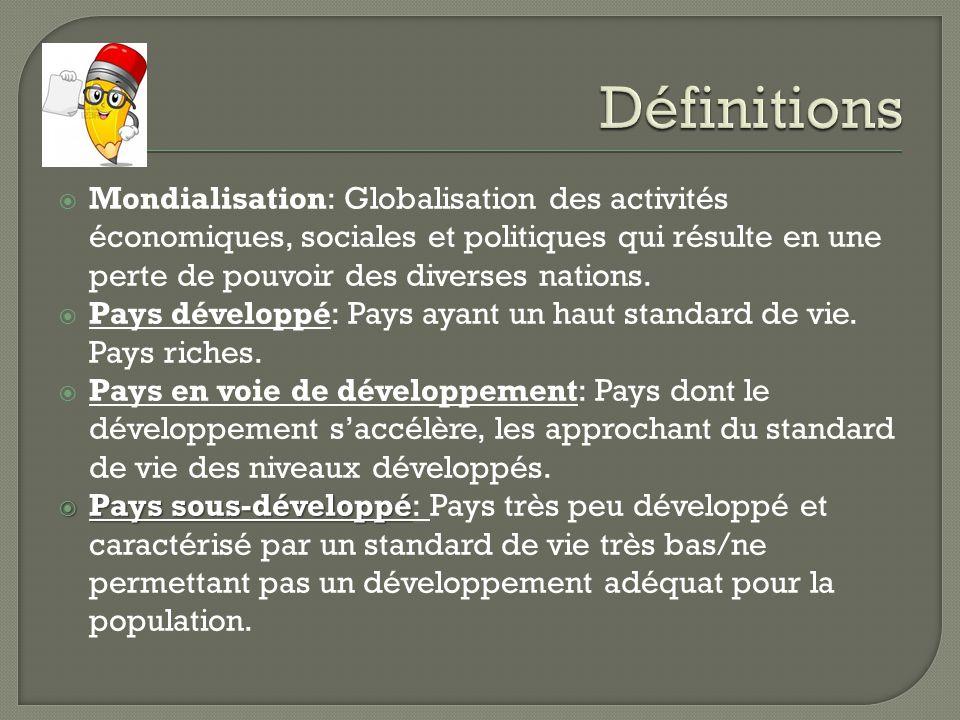 Mondialisation: Globalisation des activités économiques, sociales et politiques qui résulte en une perte de pouvoir des diverses nations. Pays dévelop