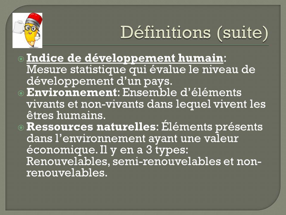 Indice de développement humain: Mesure statistique qui évalue le niveau de développement dun pays. Environnement: Ensemble déléments vivants et non-vi