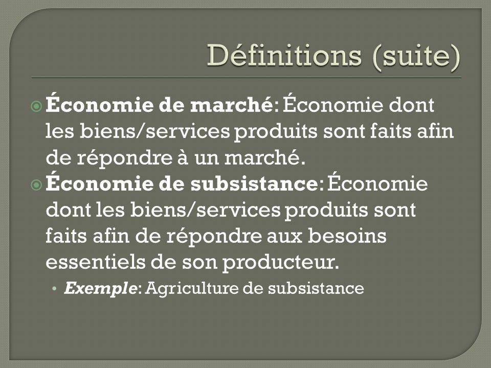 Économie de marché: Économie dont les biens/services produits sont faits afin de répondre à un marché. Économie de subsistance: Économie dont les bien