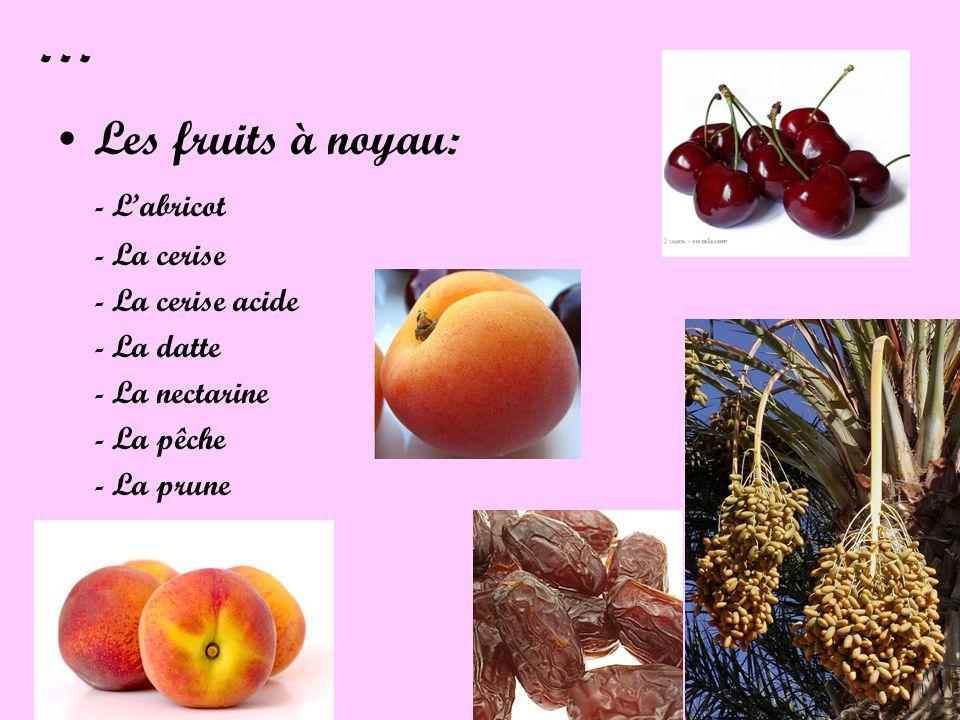… Les fruits à noyau: - Labricot - La cerise - La cerise acide - La datte - La nectarine - La pêche - La prune