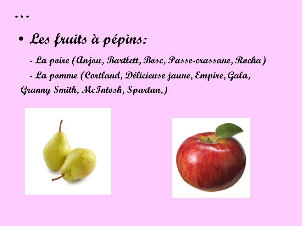 … Les fruits à pépins: - La poire (Anjou, Bartlett, Bosc, Passe-crassane, Rocha) - La pomme (Cortland, Délicieuse jaune, Empire, Gala, Granny Smith, M