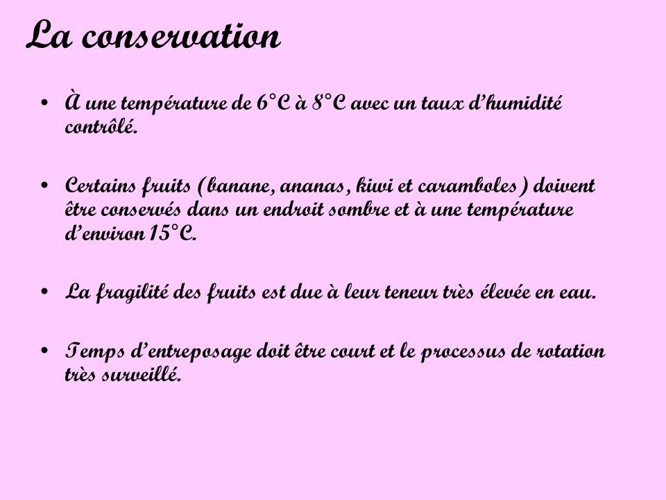 La conservation À une température de 6°C à 8°C avec un taux dhumidité contrôlé. Certains fruits (banane, ananas, kiwi et caramboles) doivent être cons