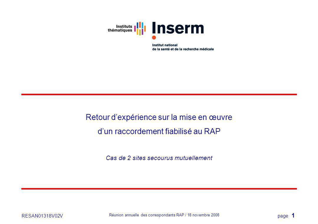 page 1 Réunion annuelle des correspondants RAP / 18 novembre 2008 RESAN01318V02V Retour dexpérience sur la mise en œuvre dun raccordement fiabilisé au RAP Cas de 2 sites secourus mutuellement