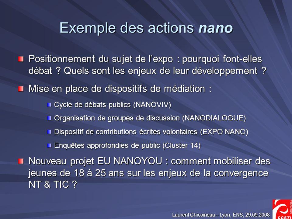 Laurent Chicoineau – Lyon, ENS, 29.09.2008 Exemple des actions nano Positionnement du sujet de lexpo : pourquoi font-elles débat .