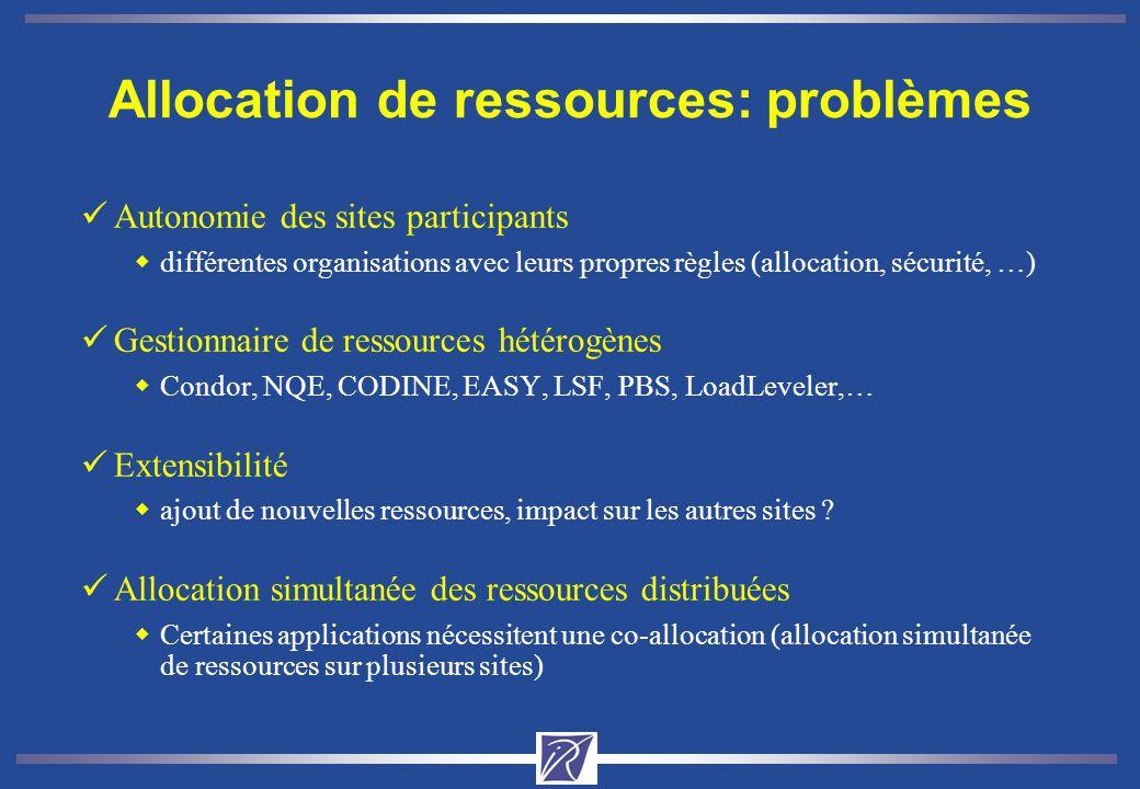 Allocation de ressources: problèmes üAutonomie des sites participants wdifférentes organisations avec leurs propres règles (allocation, sécurité, …) üGestionnaire de ressources hétérogènes wCondor, NQE, CODINE, EASY, LSF, PBS, LoadLeveler,… üExtensibilité wajout de nouvelles ressources, impact sur les autres sites .
