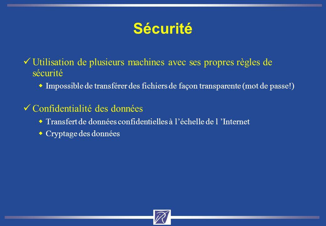 Sécurité üUtilisation de plusieurs machines avec ses propres règles de sécurité wImpossible de transférer des fichiers de façon transparente (mot de passe!) üConfidentialité des données wTransfert de données confidentielles à léchelle de l Internet wCryptage des données