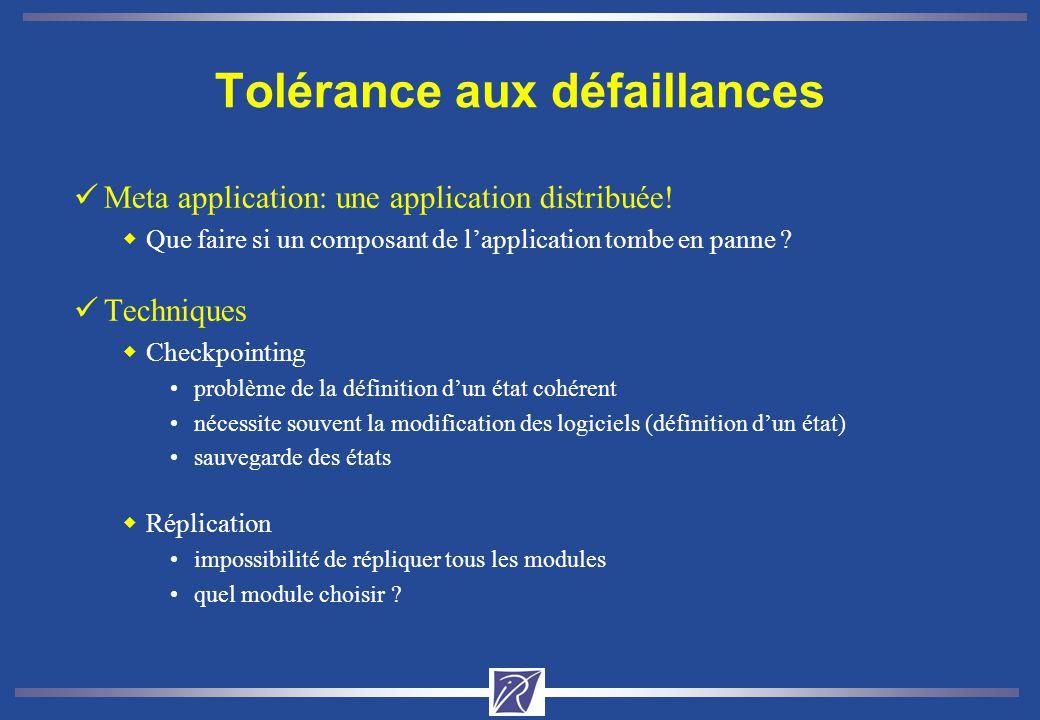 Tolérance aux défaillances üMeta application: une application distribuée! wQue faire si un composant de lapplication tombe en panne ? üTechniques wChe