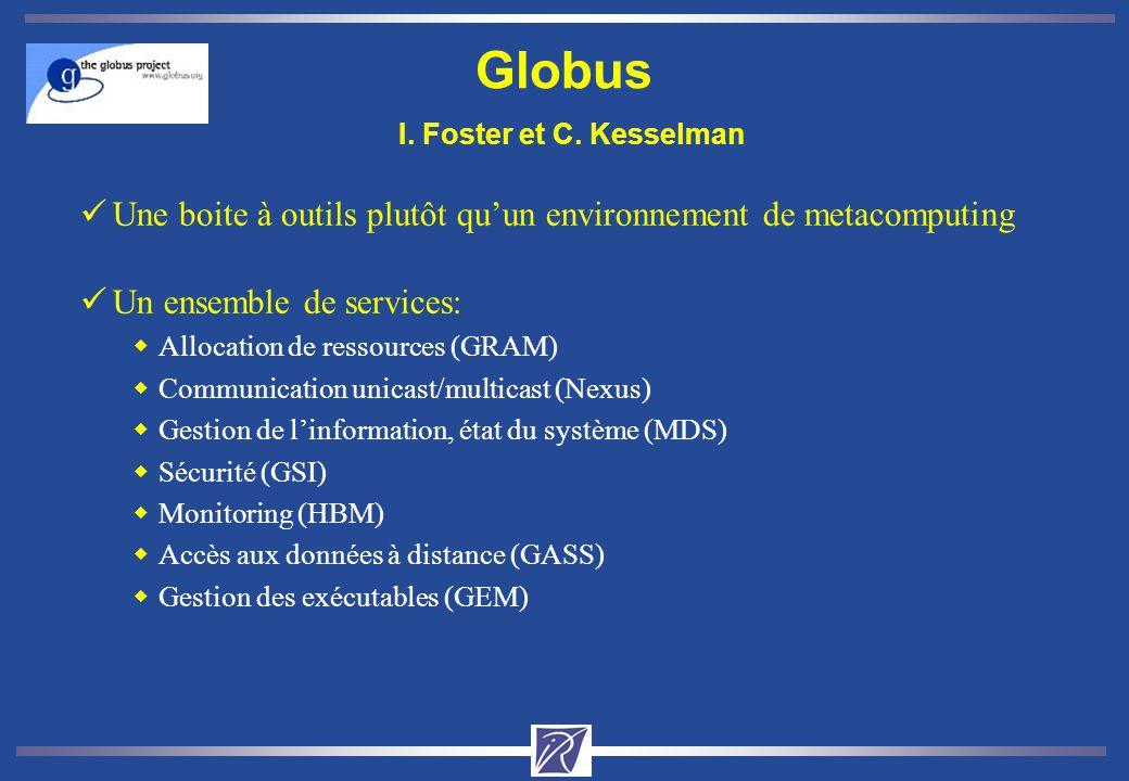 Globus I. Foster et C. Kesselman üUne boite à outils plutôt quun environnement de metacomputing üUn ensemble de services: wAllocation de ressources (G