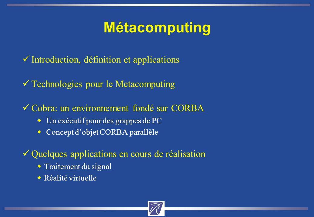 Cobra: un éxécutif pour les objets CORBA parallèles üObjectifs wExécution des objets CORBA parallèles wAllocation de ressources aux utilisateurs wAdministration de la plate-forme üContraintes wServices accessibles sur le réseau üExécutif Cobra wUn ensemble de services CORBA pour une grappe de PCs interconnectés par SCI PC SMP 2 x Pentium Pro/II 128 Mo EDO RAM 2 Go Disk PCI-SCI Card Comm.