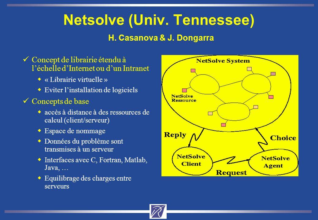 Netsolve (Univ. Tennessee) H. Casanova & J. Dongarra üConcept de librairie étendu à léchelle dInternet ou dun Intranet w« Librairie virtuelle » wEvite